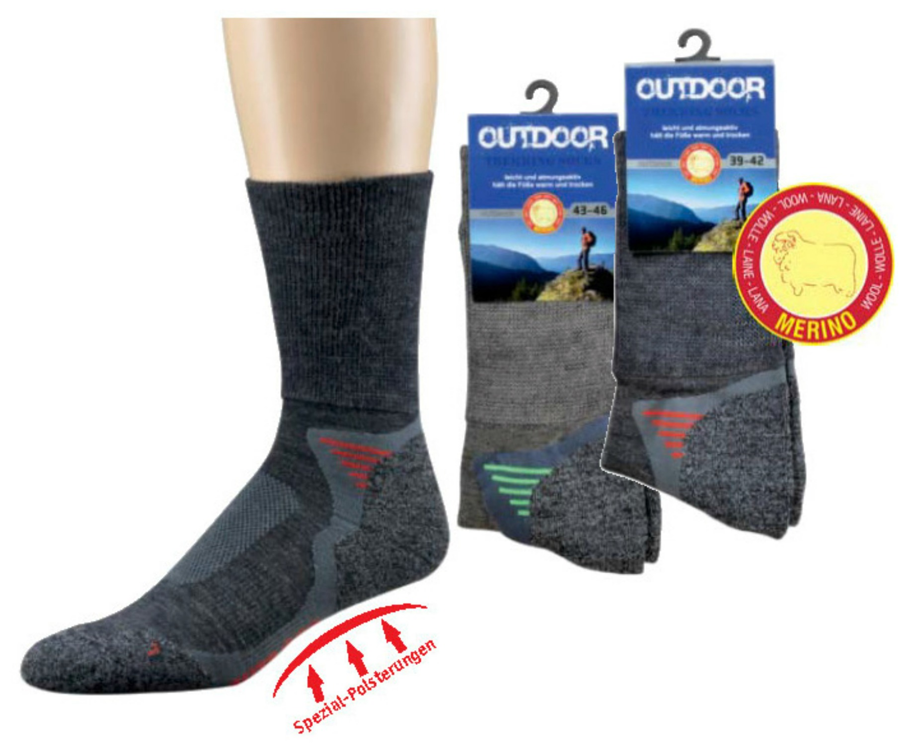 2 Paar Funktions- u. Trekking-Socken mit Merinowolle