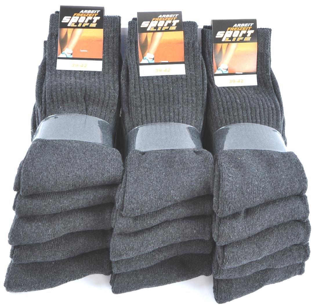 10 Paar Sport-Socken 80% BW schwarz-meliert