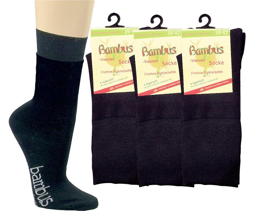 9 Paar  TippTexx24 Bambus-Viskose-Socken mit  Polstersohle